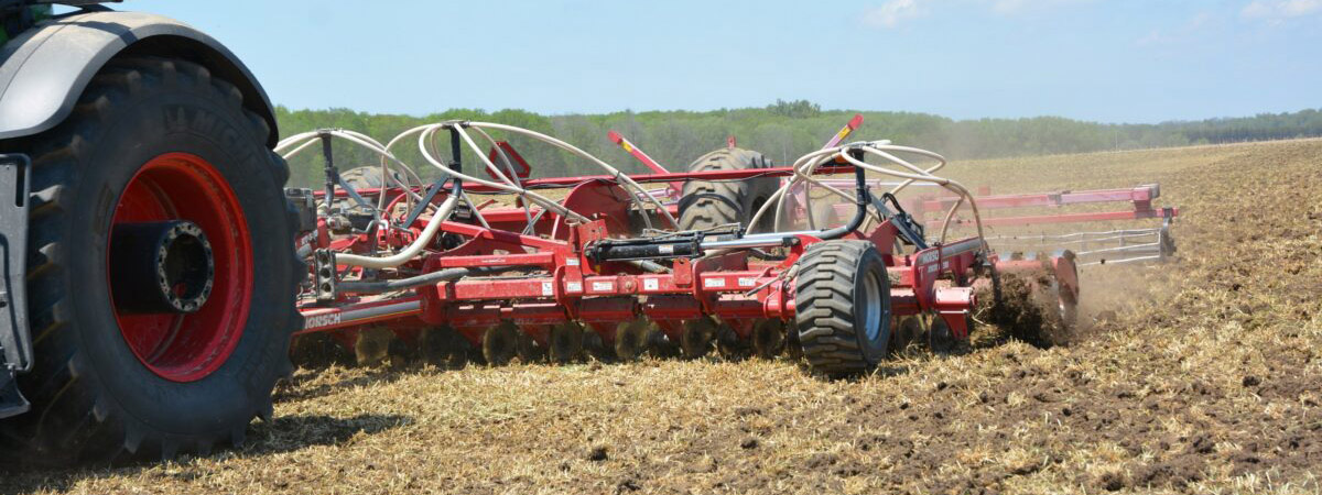 Farm equipment for tillage in a field